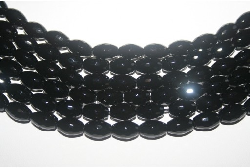 Black Onyx Faceted Oval Beads 8x12mm - 3pcs