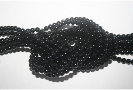 Glass Beads Black 4mm - Filo 100pz