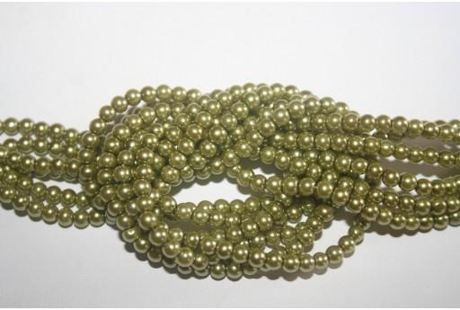 Perle Vetro Verde Chiaro 4mm - Filo 100pz