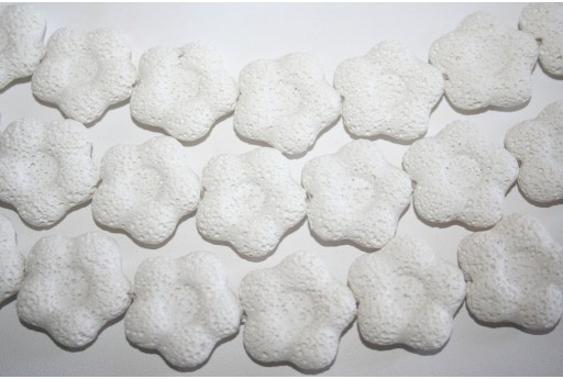 Lava Rock Beads White Flower 27x28mm - 15pz