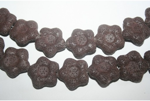 Lava Rock Beads Brown Flower 27x28mm - 2pz