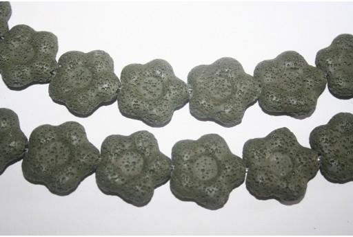 Pietre Lava Verde Oliva Fiore 27x28mm - 2pz