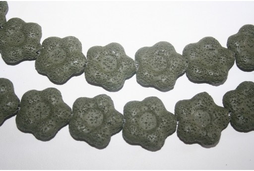 Lava Rock Beads Olive Green Flower 27x28mm - 2pz
