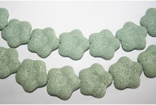 Lava Rock Beads Light Green Flower 27x28mm - 2pz