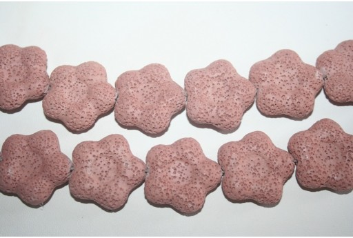 Lava Rock Beads Pink Flower 27x28mm - 2pz