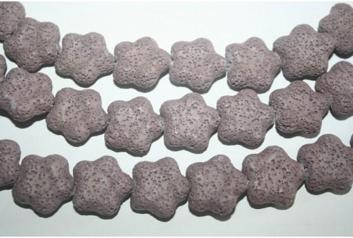 Lava Rock Beads Violet Flower 20x20mm - 19pz