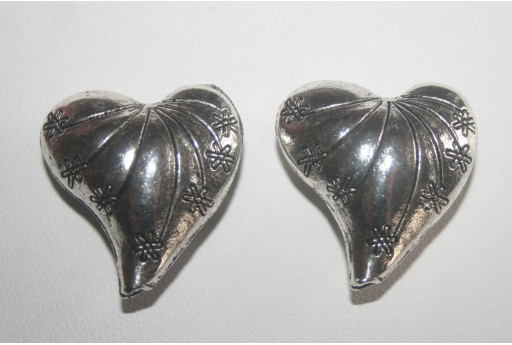 Tibetan Silver Heart Beads 25x24mm - 2pcs