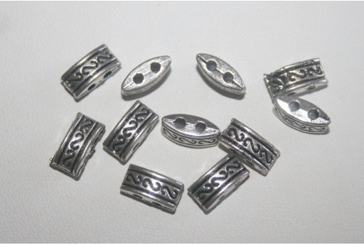 Tibetan Silver 2-holes Spacer Beads 5x10mm - 18pcs