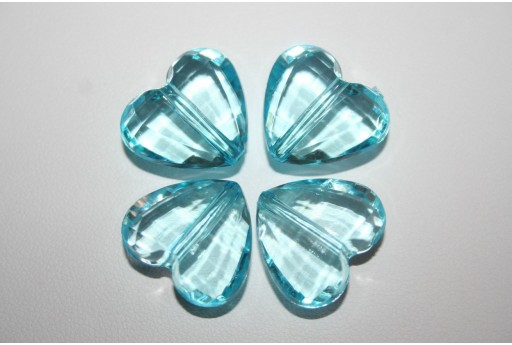 Acrylic Beads Transparent Aquamarine Heart 18x16mm - 12pz