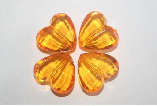 Perline Acrilico Trasparente Arancio Cuore 18x16mm - 12pz