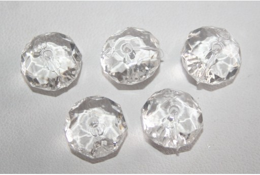 30 Acrylic Beads Transparent White Rondelle 7x12mm AC23A