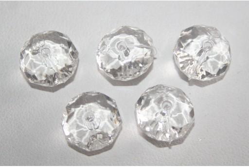 30 Perline Acrilico Trasparente Bianco Rondella 7x12mm AC23A