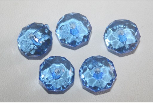 Acrylic Beads Transparent Blue Rondelle 7x12mm - 30pz