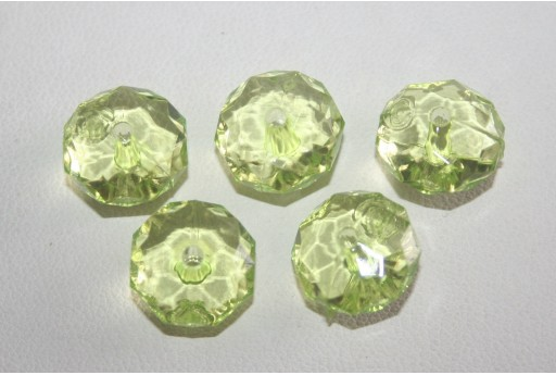 Acrylic Beads Transparent Light Green Rondelle 7x12mm - 30pz