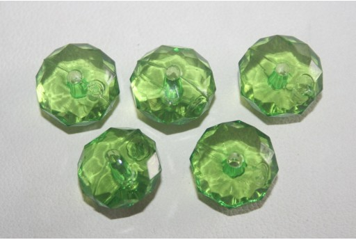Acrylic Beads Transparent Green Rondelle 7x12mm - 30pz