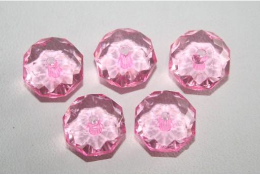 Perline Acrilico Trasparente Rosa Rondella 7x12mm - 30pz