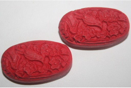 Cinnabar Beads Red Oval 32x28mm - 1pz