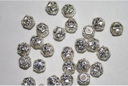 Swarovski Round Spacer Bead Silver/Crystal 6mm 47406