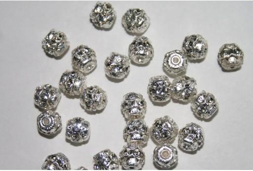 Swarovski Round Spacer Bead Silver/Crystal 6mm 47406