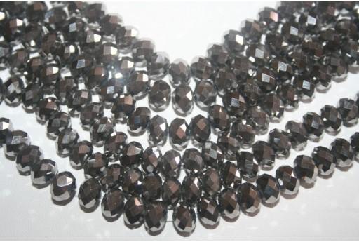 Filo 70 Perline in Vetro Argento Rondella Sfaccettata 8mm VE41