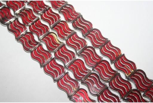Filo 19 Perline in Vetro Rosso Rettangolo Esse 15x12mm VE48