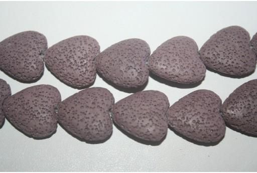 Pietre Lava Cuore Viola 20x21mm - 2pz