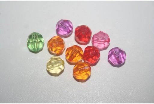 Perline Acrilico Mixcolor Sfera Sfaccettata 10mm - 30pz