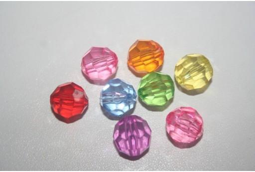 12 Perline Acrilico Mixcolor Sfera Sfaccettata 12mm AC32C