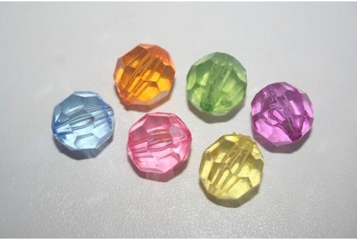 8 Perline Acrilico Mixcolor Sfera Sfaccettata 14mm AC32D