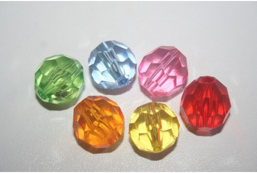 Acrylic Beads Mixcolor Faceted Sphere 16mm - 7Pz