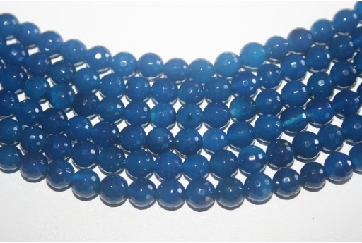 Agate Beads Blue Faceted Sphere 8mm - 45pz