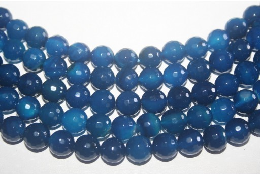 Agate Beads Blue Faceted Sphere 10mm - 37pz
