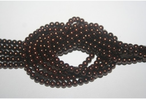 Glass Beads Brown Sphere 4mm - Filo 100pz