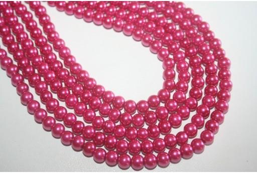 Perle in Vetro Magenta Sfera 6mm - Filo 68pz