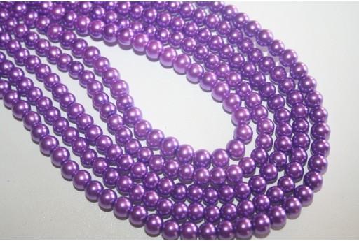 Perle in Vetro Viola Chiaro Sfera 6mm - Filo 68pz