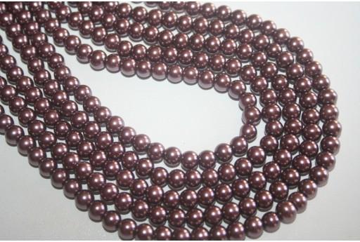 Perle in Vetro Marrone Chiaro Sfera 6mm - Filo 68pz