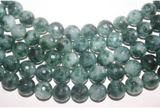 Malay Jade Beads Green/White Faceted Sphere 12mm - 4pz