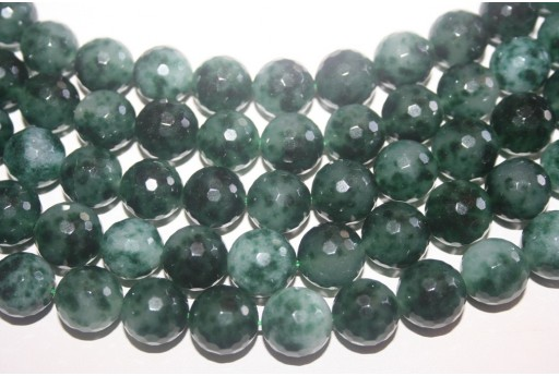 Malay Jade Beads Green/White Faceted Sphere 14mm - 28pz