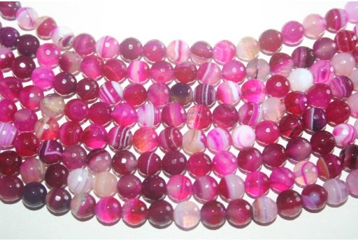 Agate Beads Fuchsia Faceted Sphere 8mm - 46pcs