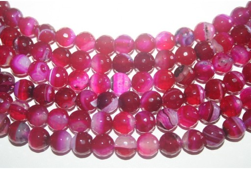 Agate Beads Fuchsia Faceted Sphere 10mm - 38pz