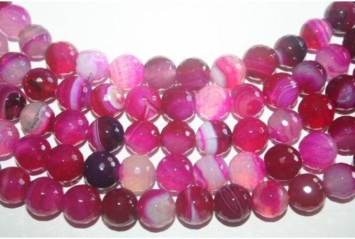 Agate Beads Fuchsia Faceted Sphere 12mm - 32pz