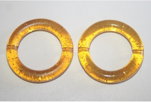 Acrylic Beads Golden Yellow Glitter Circle 34mm - 5Pz
