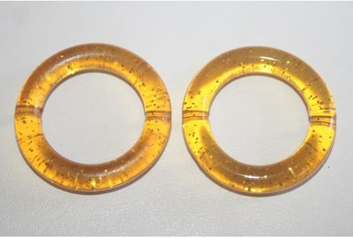 Perline Acrilico Giallo Oro Glitter Cerchio 34mm - 5Pz