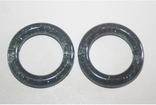 Perline Acrilico Nero Glitter Cerchio 34mm - 5Pz