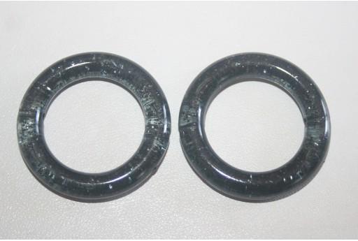 Perline Acrilico Nero Glitter Cerchio 34mm - 5Pz