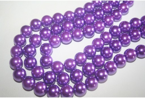 Perline Vetro Viola Chiaro Sfera 10mm - Filo 44pz