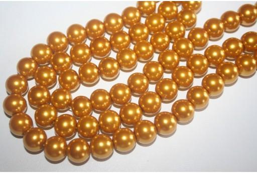 Perline Vetro Giallo Oro Sfera 12mm - Filo 34pz