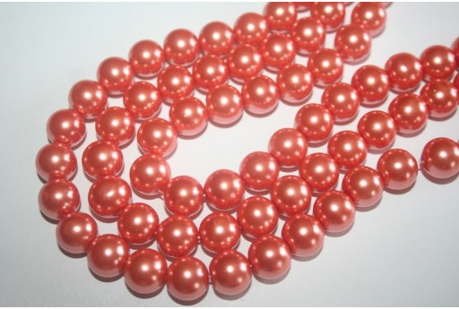 Perline Vetro Arancio Sfera 12mm - Filo 34pz