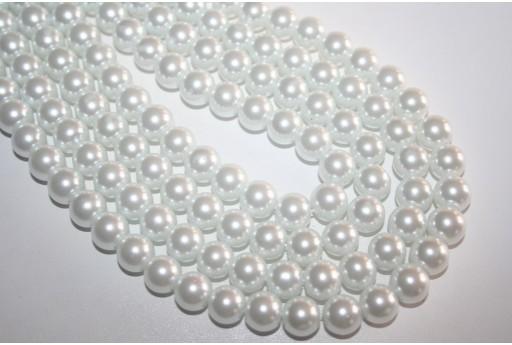 Perline Vetro Bianco Sfera 10mm - Filo 44pz