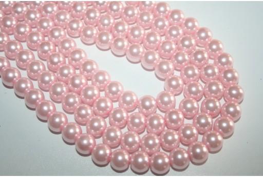 Perline Vetro Rosa Chiaro Sfera 10mm - Filo 44pz